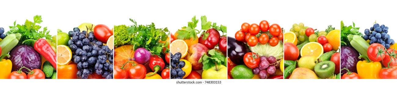 Panoramic collection fresh fruits and vegetables isolated on white background. Wide photo with free space for text