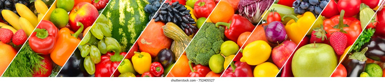 Panoramic collection fresh fruits and vegetables background. Wide photo .