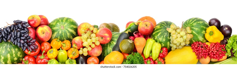 Panoramic collection fresh fruits and vegetables for skinali isolated on white background. Top view. Copy space.