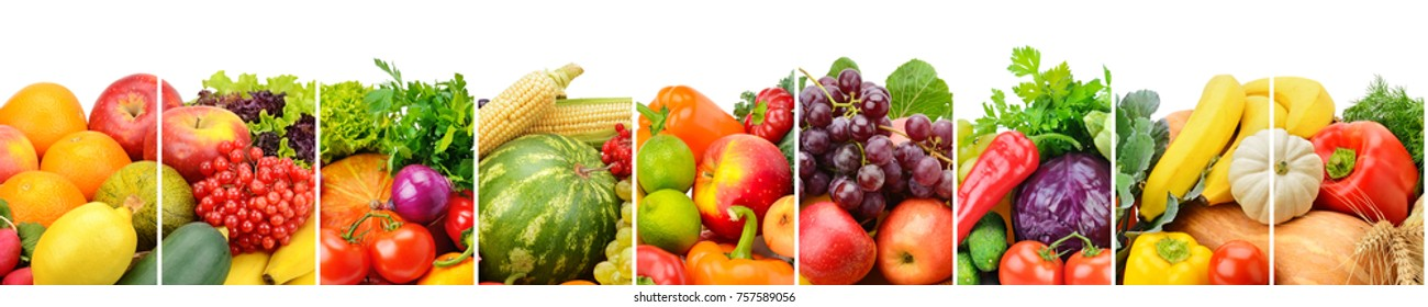 Panoramic collection fresh fruits and vegetables isolated on white background. Wide photo with free space for text.