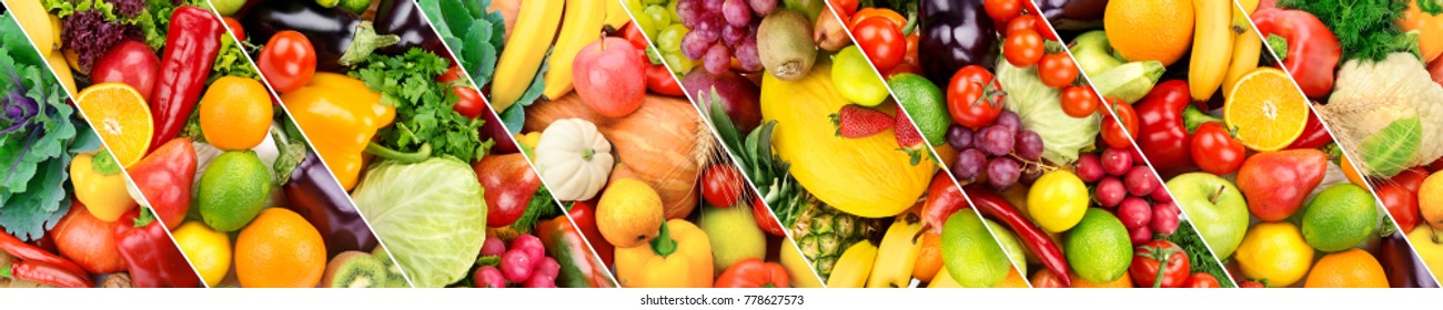 Panoramic collection fresh fruits and vegetables background. Collage. Wide photo .