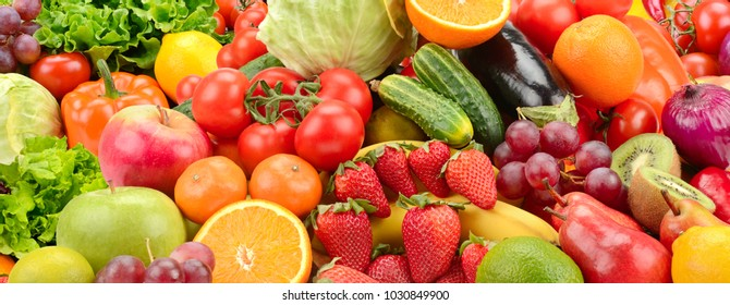 Panoramic collection fresh healthy fruits and vegetables.