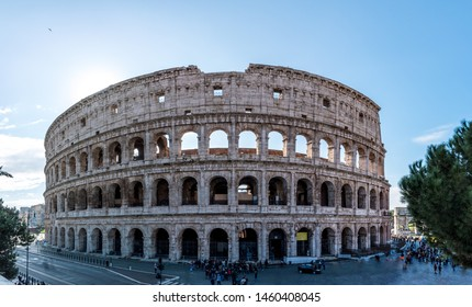 A panoramic of Colosseum or Coliseum is an oval amphitheater in the center of the city of Rome, Italy. Built of travertine, tuff, and brick-faced concrete, it is the largest amphitheater ever built.