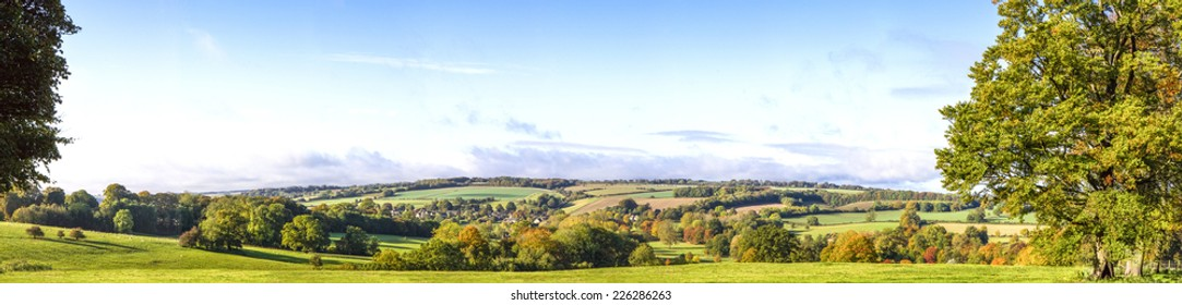 Panoramic Cotswold View, Gloucestershire, England taken below Stow on the Wold on a bright autumn morning