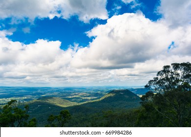 The panoramic countryside landscape view on small mountain from lookout in Toowoomba, Australia