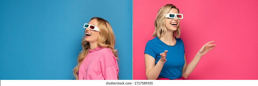 Panoramic crop of cheerful blonde sisters in 3d glasses on pink and blue background