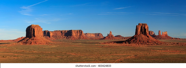 Panoramic desert landscape in Monument Valley, Arizona, USA.