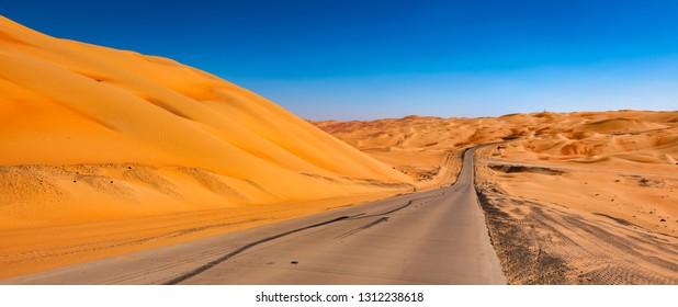 Panoramic desert road landscape.