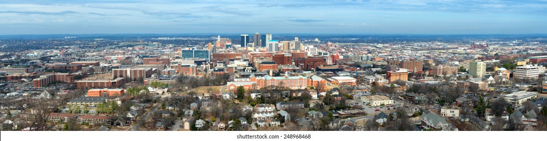 Panoramic of downtown Birmingham, Alabama, from Vulcan Park
