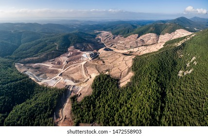 Panoramic drone view of Kaz Mountains. Mount Ida gold mine. Deforestation of the mountain in Canakkale / Turkey. Gold mine from above.