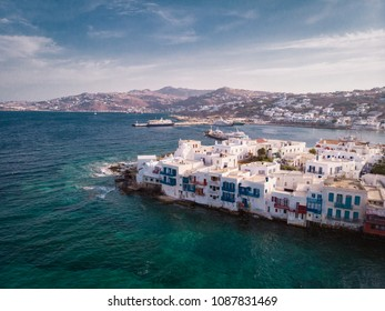 Panoramic drone view over Mykonos ,Little Venice Mikonos Greece