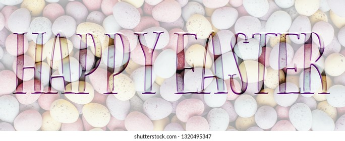 panoramic Easter background banner, header, with Happy Easter quote. Great for social media campaigns.