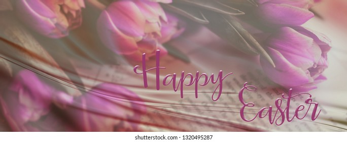Panoramic Easter background with a pretty pink bunch of tulips, and 'Happy Easter' quote. Perfect for Easter Social Media campaigns.