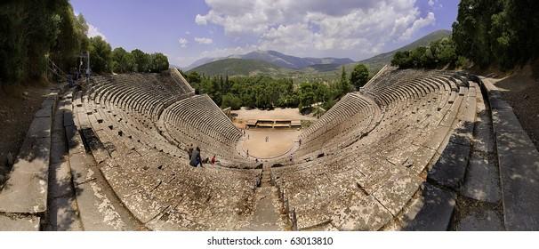 Panoramic of Epidaurus theater, Peloponnese, Greece