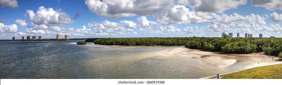 Panoramic of Estero Bay with its mangrove islands in Bonita Springs, Florida