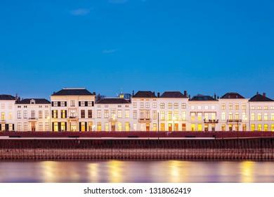Panoramic evening view of the Dutch city of Zutphen in Gelderland