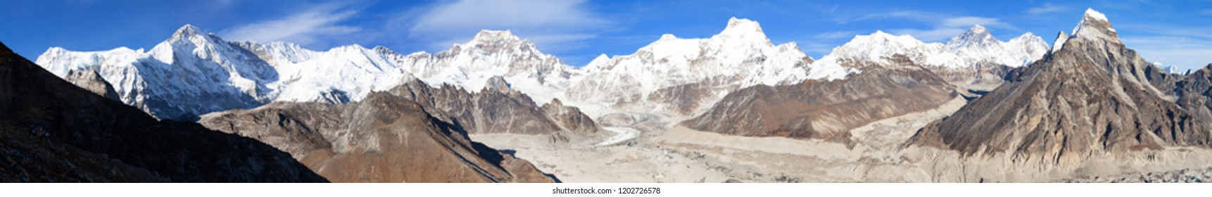Panoramic evening view from Gokyo valley to Ngozumba glacier and mount Everest, Lhotse and Cho Oyu, Nepal Himalayas mountains