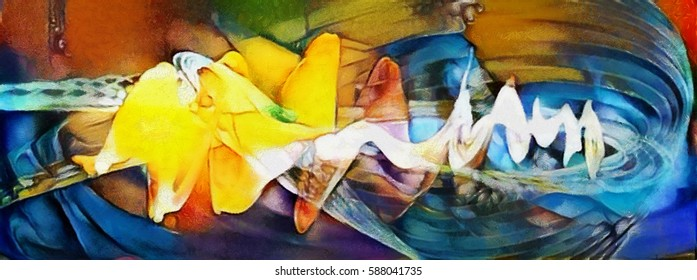 Panoramic Fine art bright abstraction. Designed in a modern style oil on canvas with elements of pastel painting. Ideal for a gift or interior decoration.