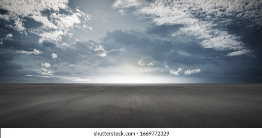 Panoramic Floor Background Scene with Blue Cloudy Sky Horizon