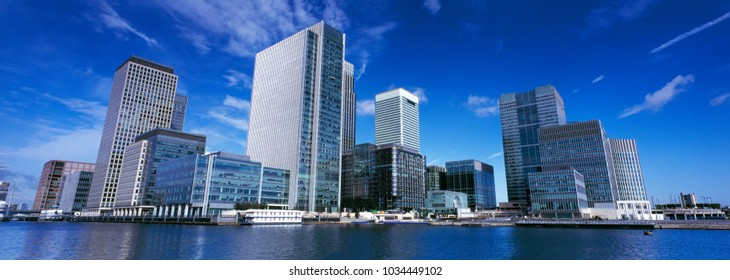 Panoramic format image of the financial hub of Canary wharf in East London