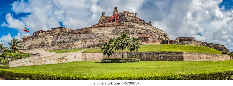Panoramic of the fortified castle of San Felipe in the city of Cartagena de Indias. used to defend the city from the English invaders at the time of the Spanish conquest