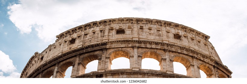 Panoramic fragment of Colosseo in Rome, Lazio region, Italy.