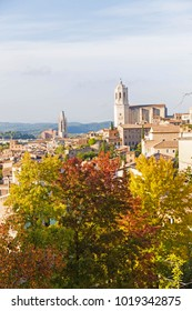 Panoramic of Girona. The medieval quarter of Gerona with bell tower of Santa Maria cathedral in background. View from The Forca Vella. Gerona, Costa Brava, Catalonia, Spain.