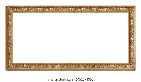 Panoramic golden frame for paintings, mirrors or photo isolated on white background