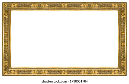Panoramic golden frame for paintings, mirrors or photo isolated on white background. Design element with clipping path