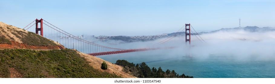 Panoramic of the Golden Gate bridge. San Francisco