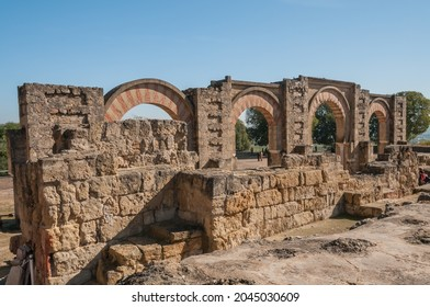 Panoramic of the Great Portico of the palatine city of Madinat Al-Zahra, Unesco world heritage site. Caliphate of Cordoba Al-Andalus. Travel destination in Spain.