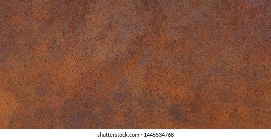 Panoramic grunge rusted metal texture, rust and oxidized metal background. Old metal iron panel. High quality
