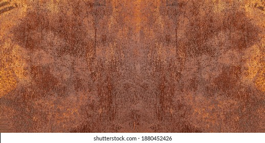 Panoramic grunge rusted metal texture, rust and oxidized metal background. Old worn metallic iron panel.