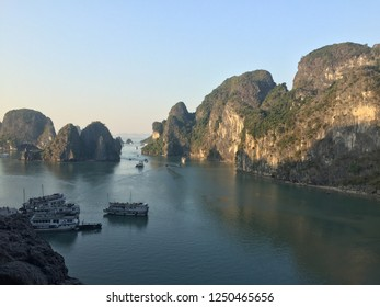 Panoramic Halong Bay surrounded by karst hills in Hanoi Vietnam