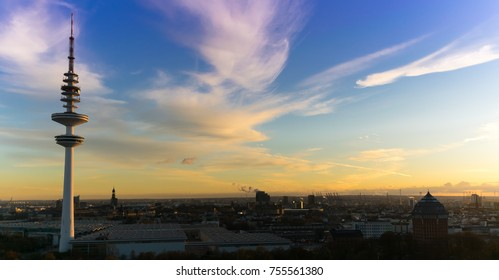 A panoramic of the Hamburg TV tower during sunset