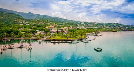 Panoramic harbor landscape of Papeete, Tahiti.