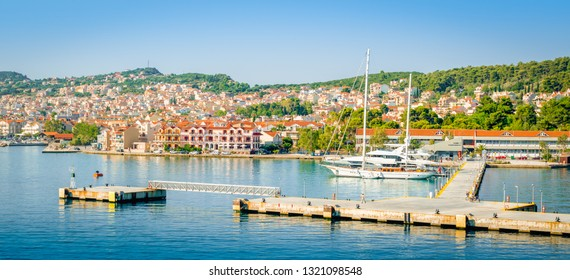 Panoramic harbor view of Argostoli,  Kefalonia, Greece.