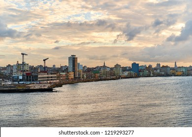 Panoramic Havana skyline with a view of sea and Malecon