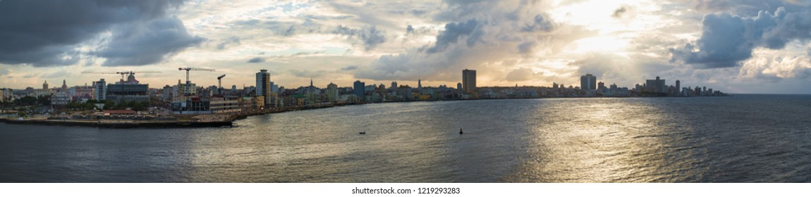 Panoramic Havana skyline with view of sea and Malecon