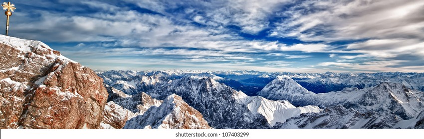 A panoramic HDR composition of the Zugspitze mountain range/Zugspitze Vista/A 63 image photo of the Zugspitze Mountain Range, the tallest point in Germany