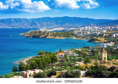 Panoramic high point view of the picturesque gulf of Mirambello, with the island of Agioi Pantes and the town of Agios Nikolaos, Crete, Greece