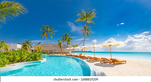 Panoramic holiday landscape. Luxurious beach resort hotel swimming pool and beach chairs or loungers under umbrellas with palm trees, blue sunny sky. Summer island seaside, travel vacation background - Shutterstock ID 1688819209