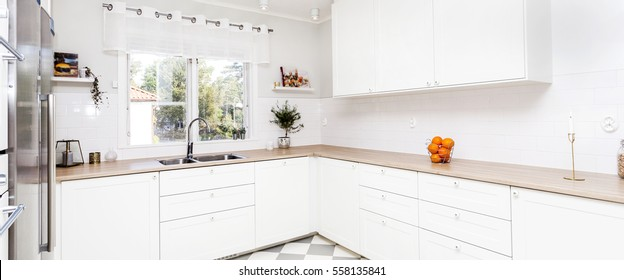 panoramic horizontal banner of a stylish kitchen