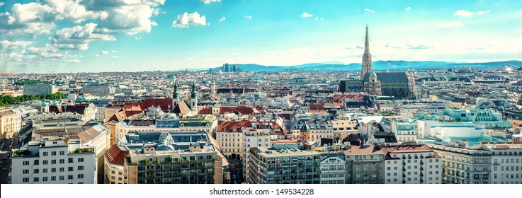 Panoramic horizontal image aerial view of Vienna city, banner for website header design copy space for text. Austria