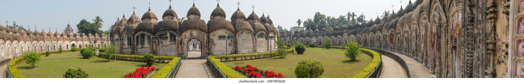 Panoramic image of 108 Shiva Temples of Kalna, Burdwan , West Bengal. A total of 108 temples of Lord Shiva (a Hindu God), are arranged in two concentric circles - an architectural wonder,