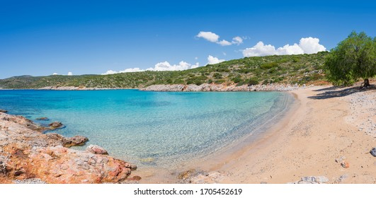 Panoramic image of Agia Dynami Beach on Chios Island, Greece. - Shutterstock ID 1705452619