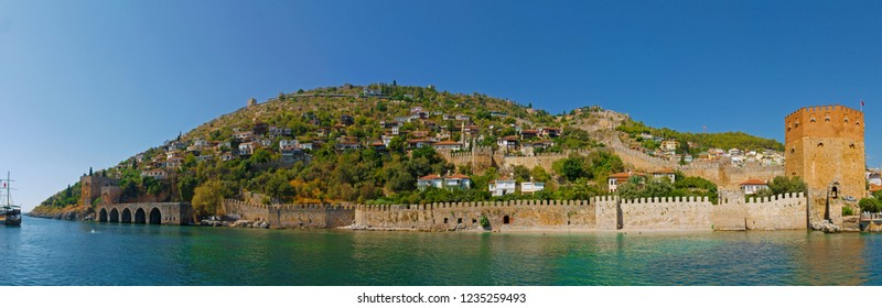 Panoramic image of Alanya Castle. Alanya Castle is an open-air museum with a length of about 6.5 km. Kale is located in the district of Alanya in Antalya. Antalya Alanya. July 9, 2017
