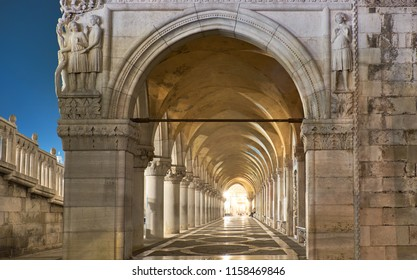 Panoramic image of ancient arches of Doge's Palace St. Marc Square in Venice, Italy
