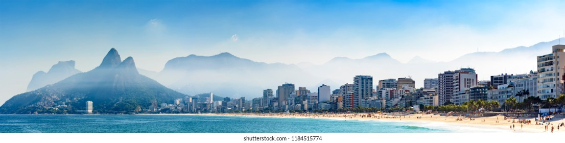 Panoramic image of the beaches of Ipanema and Leblon in Rio de Janeiro seen from the Arpoador stone during a summer morning