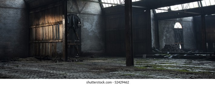 Panoramic image beautifully lit by the early evening sun, the wooden wall in the abandoned barn is attracting the attention in this panoramic image